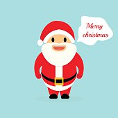 "Christmas holiday with Santa Claus. Santa saying ""Merry Christma"