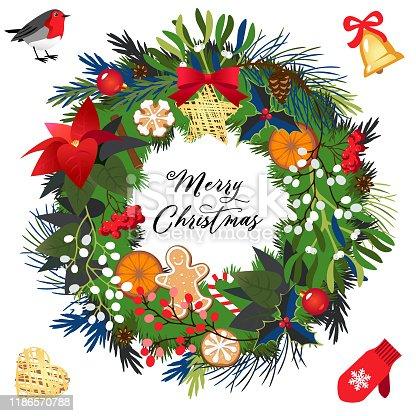 istock Christmas holiday wreath 1186570788