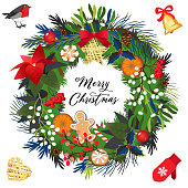Christmas holiday wreath isolated on a white background.