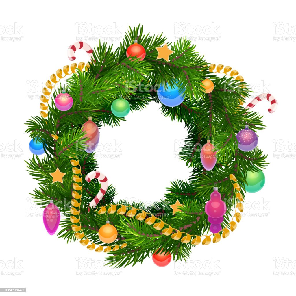 Christmas Holiday Wreath With Balls And Decoration Stock Illustration Download Image Now Istock