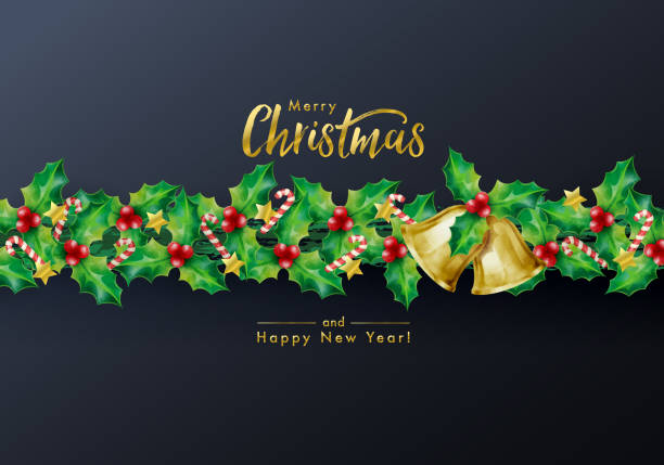 christmas holidays background with season wishes and border of garland decorated with holly branches stars