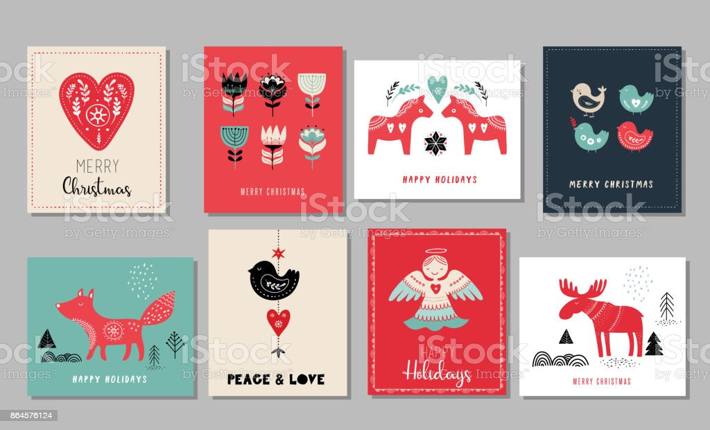Christmas holidays greeting cards vector art illustration