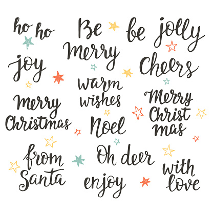 Christmas holidays hand lettering set. Calligraphy phrases collection clipart