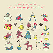 Christmas holidays icon set. Classic hand-drawn New Year elements, vintage style.
