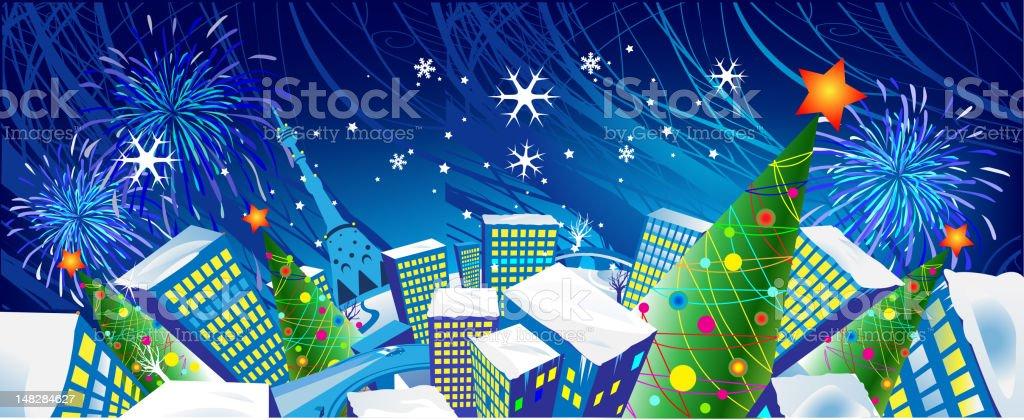 Christmas holliday city royalty-free stock vector art