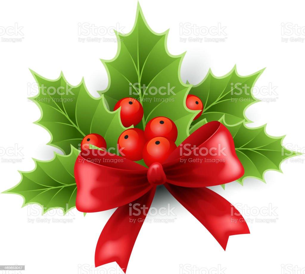 Christmas holly and red ribbon royalty-free stock vector art