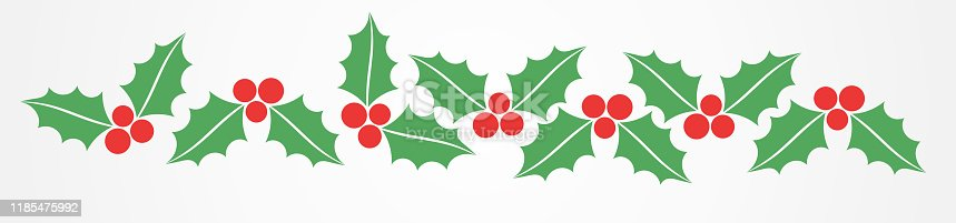 Christmas holly berries border pattern. Vector illustration