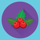 istock Christmas holly berry icon on violet and blue background. 623449144
