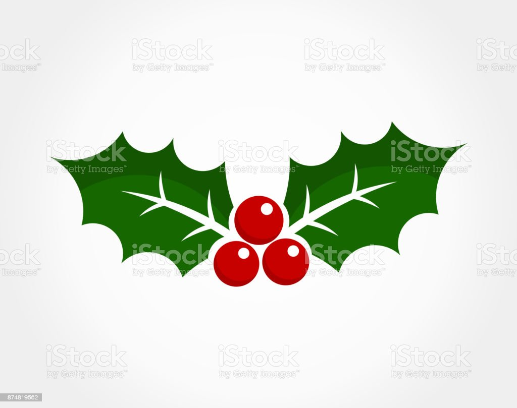 Christmas holly berry icon vector art illustration
