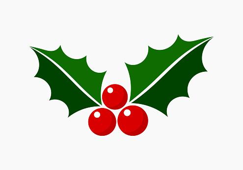 Christmas holly icon symbol.