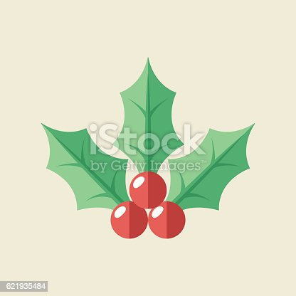 Flat vector illustration of christmas hlloy.