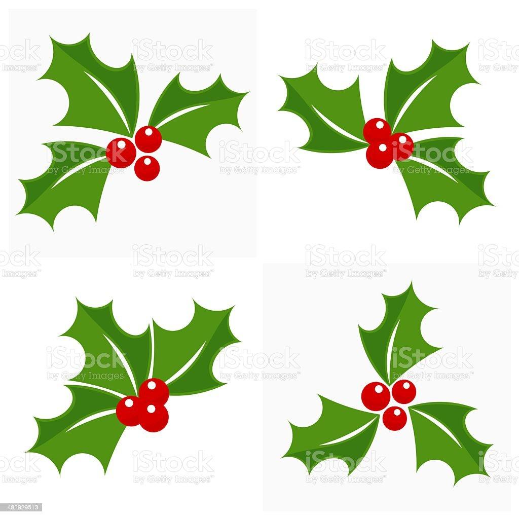 Christmas holly set vector art illustration