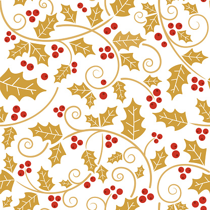 Christmas holly vines and leaf seamless pattern.
