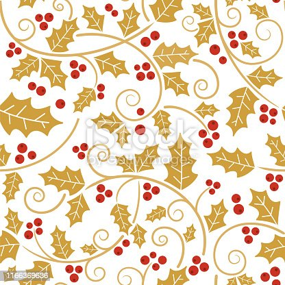 istock Christmas holly vines and leaf seamless pattern. 1166369636