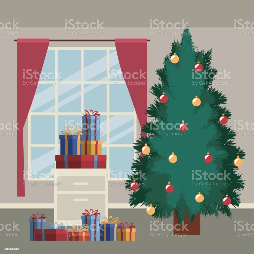 Weihnachtsszene Mit Fensterhintergrund Und Großen Weihnachtsbaum Und ...