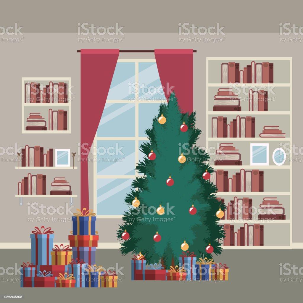 Nach Hause Weihnachtsszene Mit Fensterhintergrund Und Bücherregal ...