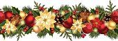 Vector Christmas horizontal seamless background with red and gold balls, fir branches, cones, poinsettia, apples and holly.