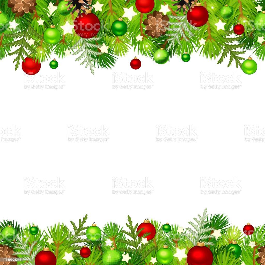 Christmas horisontell sömlös bakgrund med Gran grenar, röda och gröna bollar, koner och stjärnor. Vektor illustration. - Royaltyfri Bildbakgrund vektorgrafik