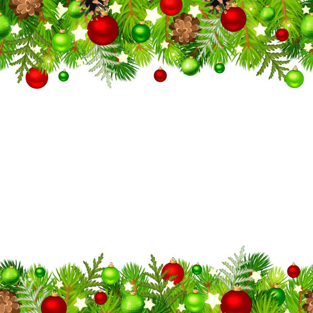 illustrations, cliparts, dessins animés et icônes de fond horizontal de noel sans couture avec des branches de sapin, des boules rouges et vertes, des cônes et des étoiles. illustration de vecteur. - guirlande