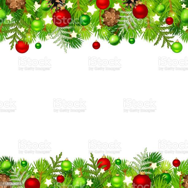 Christmas Horisontell Sömlös Bakgrund Med Gran Grenar Röda Och Gröna Bollar Koner Och Stjärnor Vektor Illustration-vektorgrafik och fler bilder på Bildbakgrund