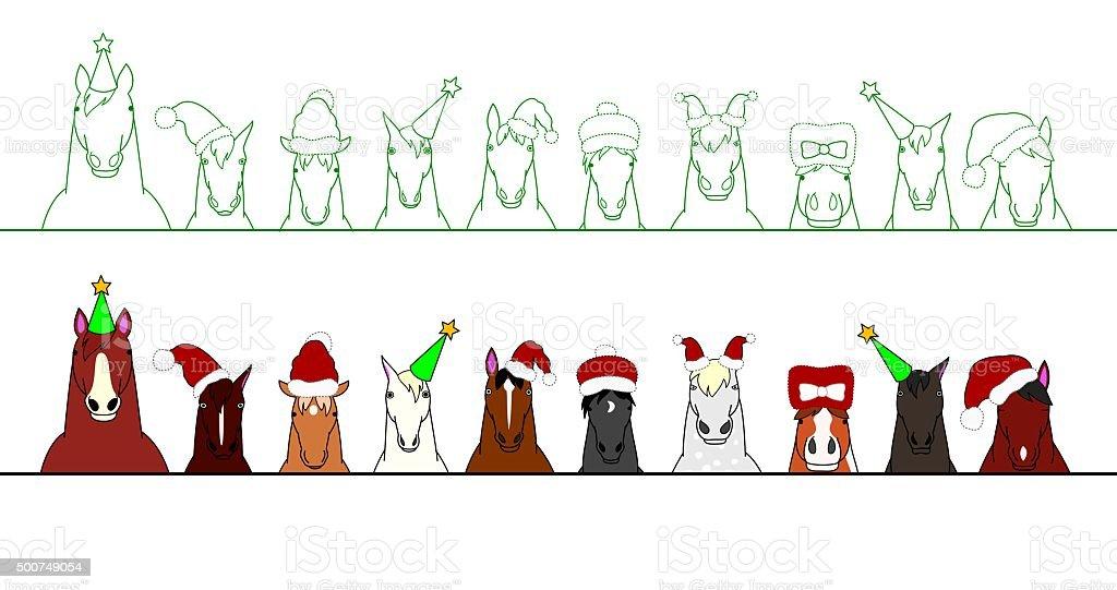 Weihnachten Pferde In Einer Reihe Stock Vektor Art und mehr Bilder ...