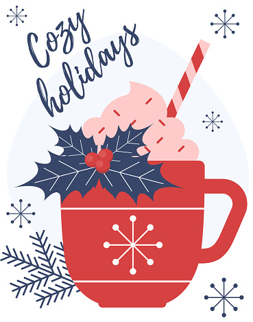 Christmas Hot Drink. Hot chocolate. Cup of hot cocoa. Seasonal winter drink.