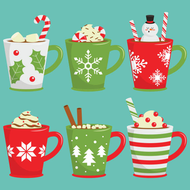 Christmas Hot Drinks Decorative christmas drinks in fancy cups hot chocolate stock illustrations