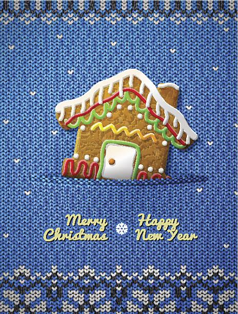 christmas cookie auf gestrickte hintergrund house - gehäkelte lebensmittel stock-grafiken, -clipart, -cartoons und -symbole