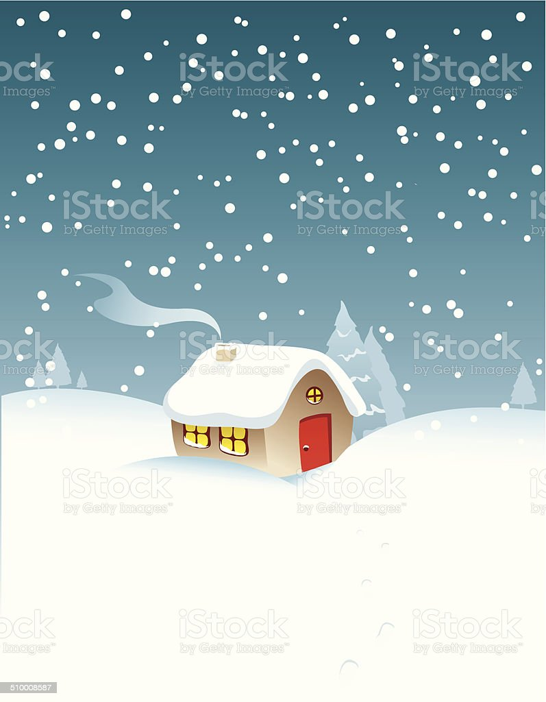 Christmas house with snow art - Christmas House In Snow Royalty Free Stock Vector Art