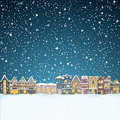 Christmas house in snowfall at the night. Happy holiday greeting card with town skyline, flying Santa Claus and deer black silhouettes, snow big moon. Midtown houses panorama xmas poster. Vector winer illustration