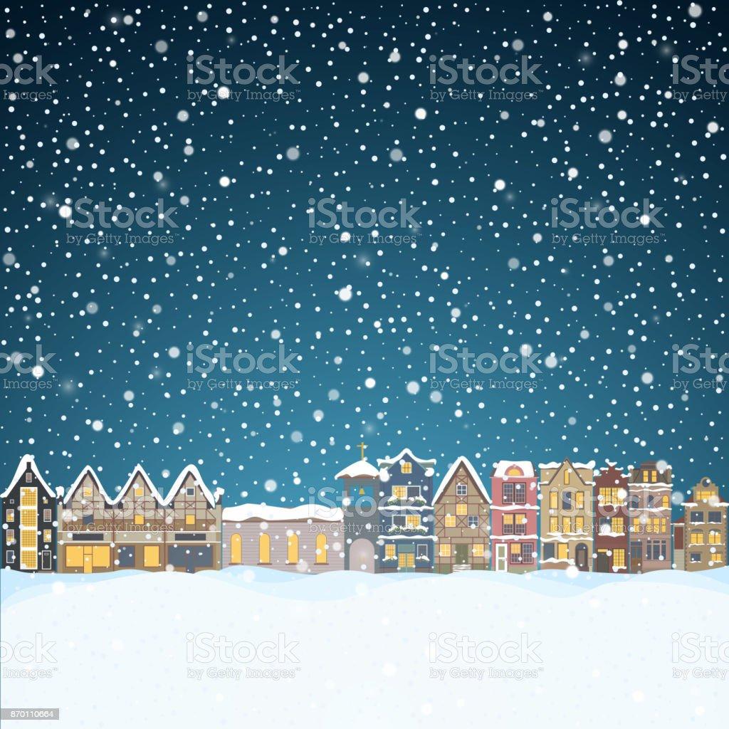 Weihnachtshaus in Schneefall in der Nacht. Frohe Weihnachten Grusskarte mit Skyline der Stadt, Santa Claus und Hirsche schwarze Silhouetten, Schnee große Mond fliegen. Midtown beherbergt Panorama Xmas Plakat. Winer Vektorgrafik – Vektorgrafik