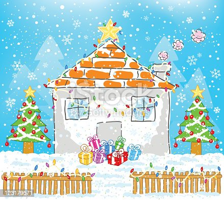weihnachten haus mit ornamenten comic stock vektor art und mehr bilder von baum 123179571 istock. Black Bedroom Furniture Sets. Home Design Ideas