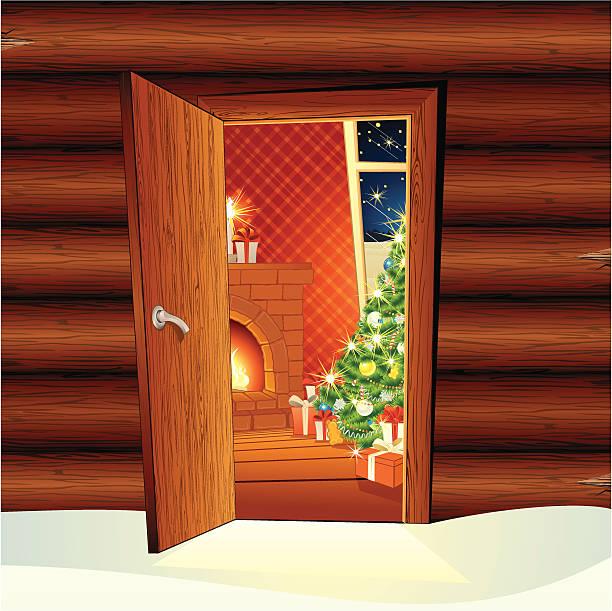 stockillustraties, clipart, cartoons en iconen met christmas hut - christmas cabin