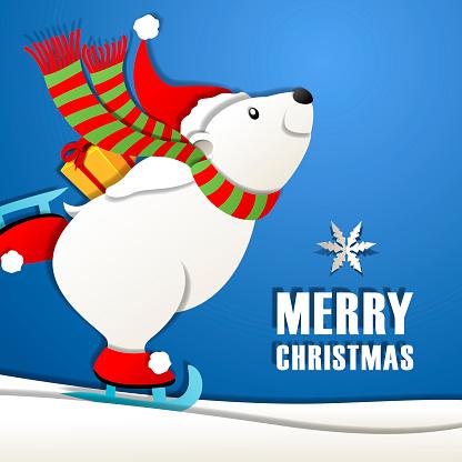 Christmas Ice-Skating Polar Bear Cartoon