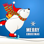 The paper craft of polar bear cartoon ice-skating and holding Christmas present behind his back on blue background
