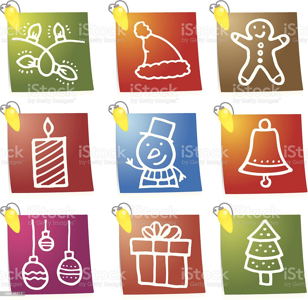 Christmas icon blocks with lights royalty-free stock vector art