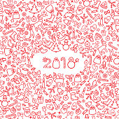 Christmas icon holiday background. Happy New 2018 Year greeting
