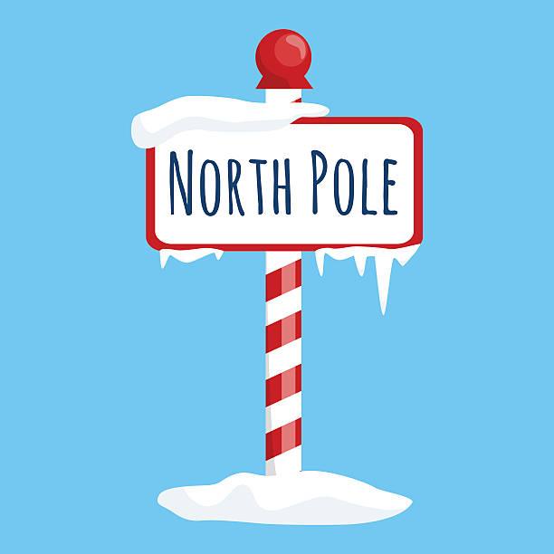 bildbanksillustrationer, clip art samt tecknat material och ikoner med christmas icon north pole sign with snow and ice, winter - stock arrow