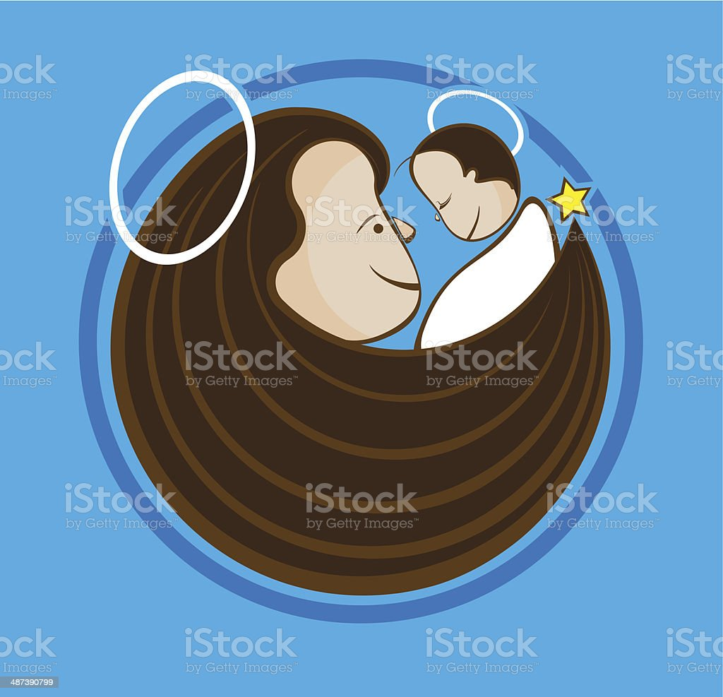 Christmas icon of a smiling Mary with baby Jesus royalty-free stock vector art