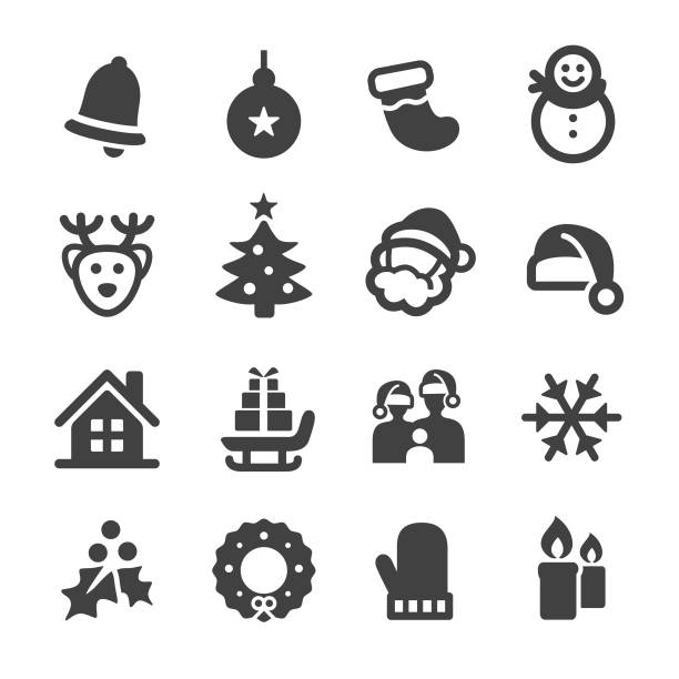 Christmas Icon Set - Acme Series Christmas, Christmas Decoration, christmas icons stock illustrations