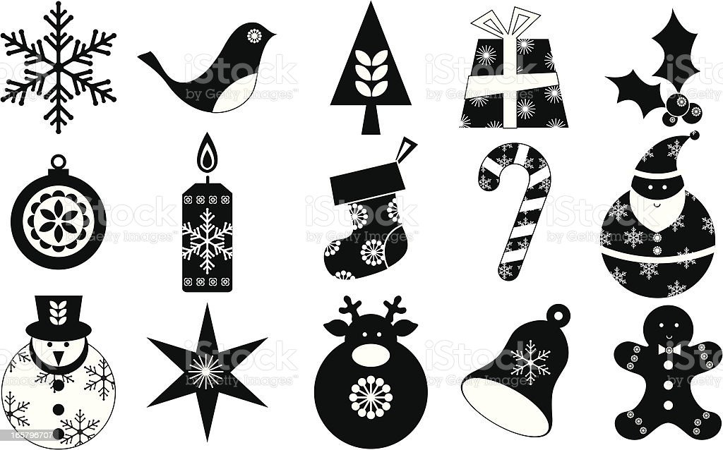 Christmas Icon Set Black And White Stock Vector Art More Images Of