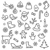 Christmas icon set. Doodle Christmas holiday decorative design e
