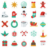 A flat design style Christmas icon set. File is cleanly built and easy to edit.