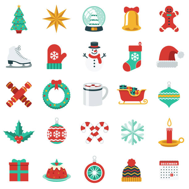 Christmas Icon Set in Flat Design Style A flat design style Christmas icon set. File is cleanly built and easy to edit. christmas icons stock illustrations