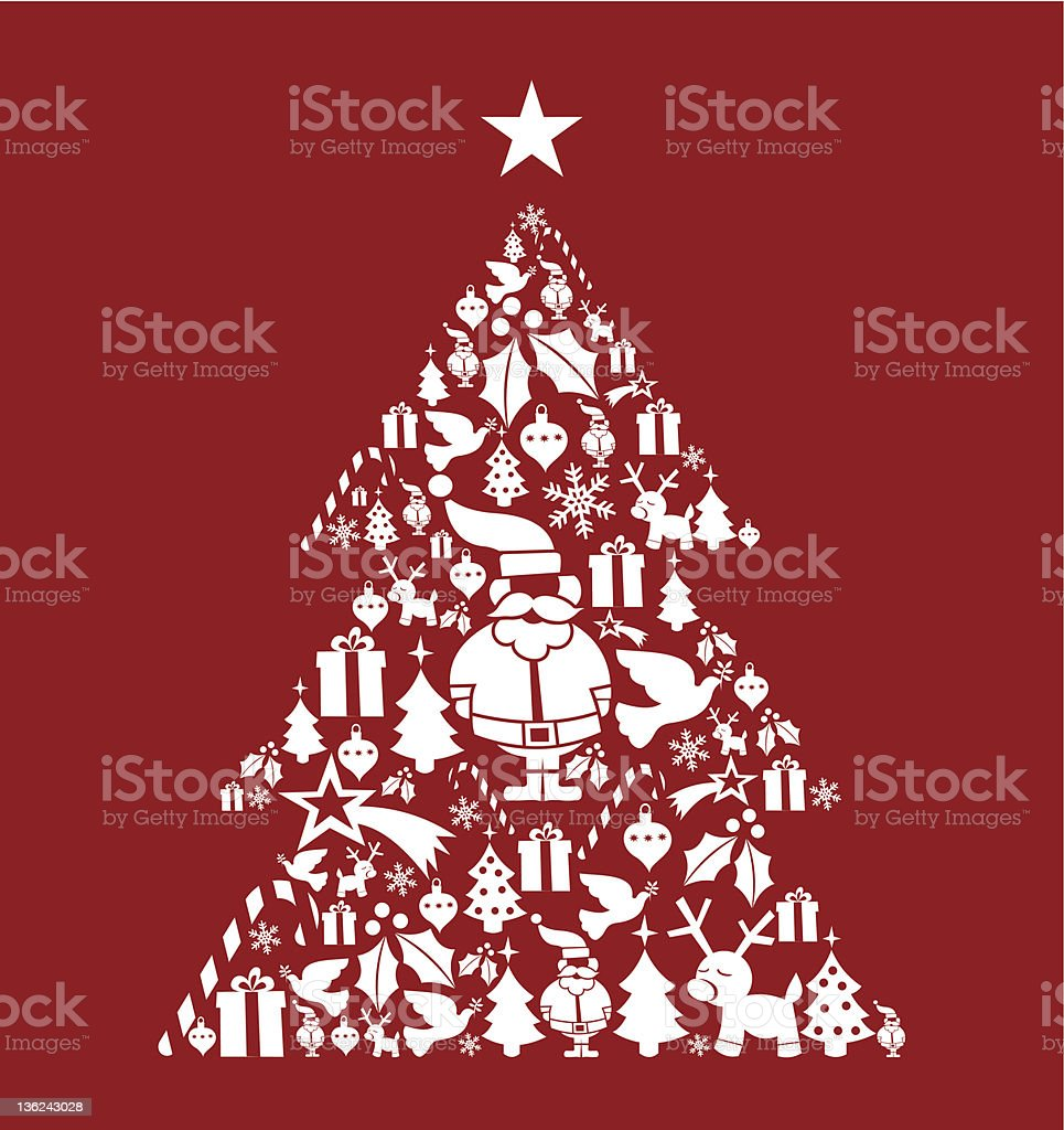 Christmas icon set in pine tree shape royalty-free stock vector art