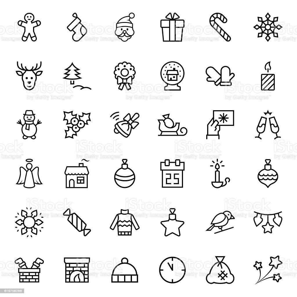 Christmas icon set in thin line style. Vector symbols. ベクターアートイラスト