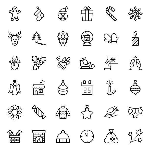 christmas icon set in thin line style. vector symbols. - ホリデーシーズンのアイコン点のイラスト素材/クリップアート素材/マンガ素材/アイコン素材