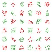Christmas icon set in thin line style. Vector symbols.