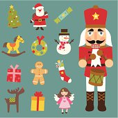 Collection of thirteen christmas icons including a more detailed illustraton of a nutcracker.
