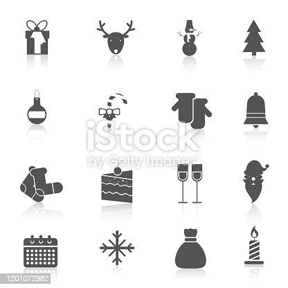 Christmas new year holiday season celebration black icons set isolated vector illustration.